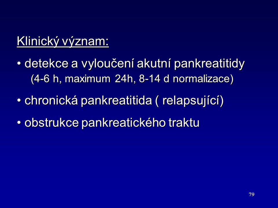 79 Klinický význam: detekce a vyloučení akutní pankreatitidy (4-6 h, maximum 24h, 8-14 d normalizace) detekce a vyloučení akutní pankreatitidy (4-6 h,