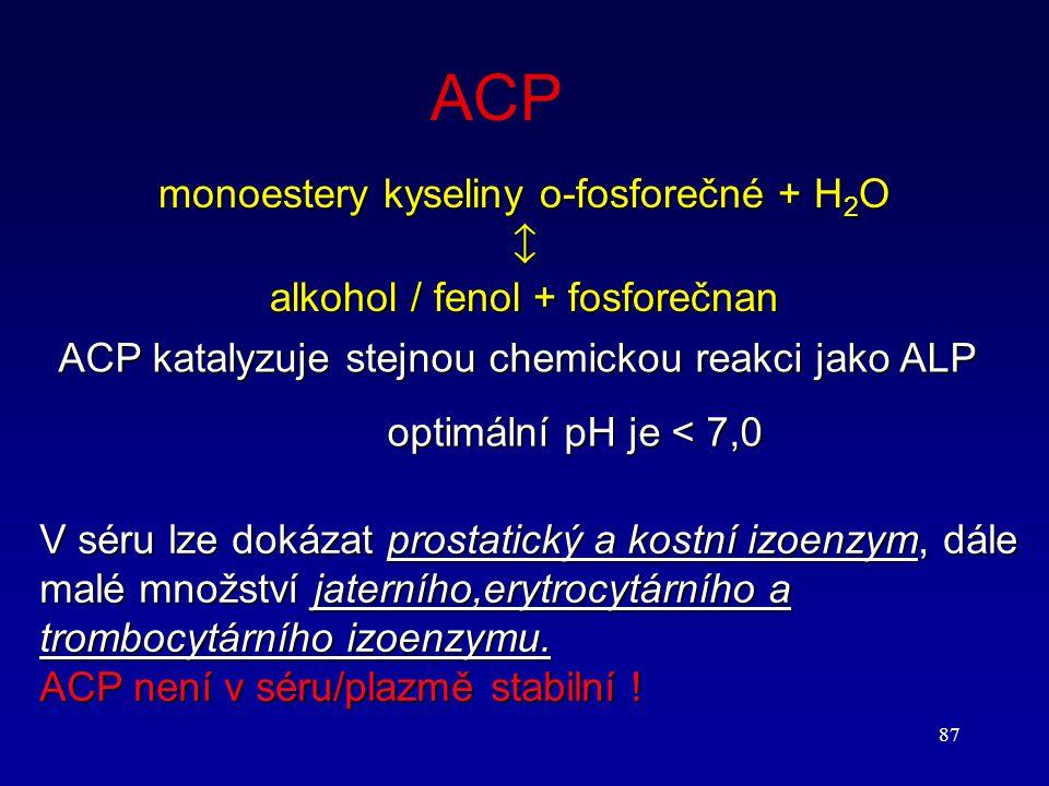 87 ACP monoestery kyseliny o-fosforečné + H 2 O  alkohol / fenol + fosforečnan ACP katalyzuje stejnou chemickou reakci jako ALP optimální pH je < 7,0