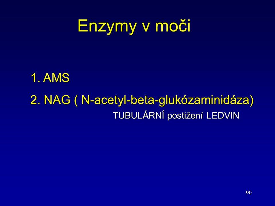 90 Enzymy v moči 1. AMS 2. NAG ( N-acetyl-beta-glukózaminidáza) TUBULÁRNÍ postižení LEDVIN