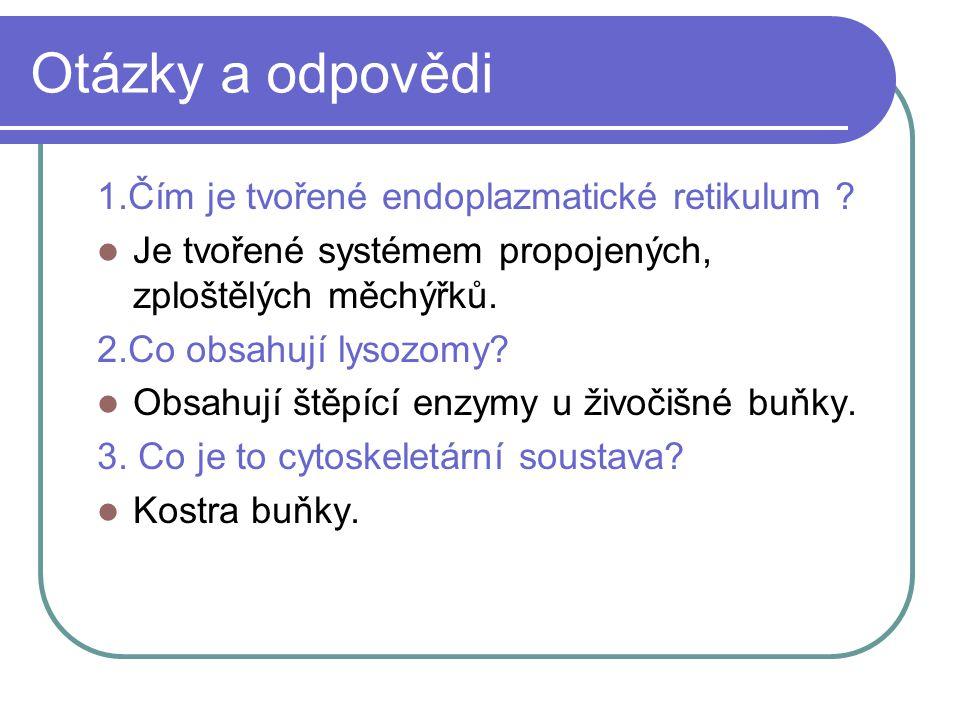 Otázky a odpovědi 1.Čím je tvořené endoplazmatické retikulum ? Je tvořené systémem propojených, zploštělých měchýřků. 2.Co obsahují lysozomy? Obsahují
