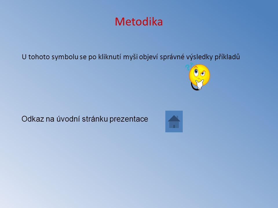 Metodika U tohoto symbolu se po kliknutí myši objeví správné výsledky příkladů Odkaz na úvodní stránku prezentace