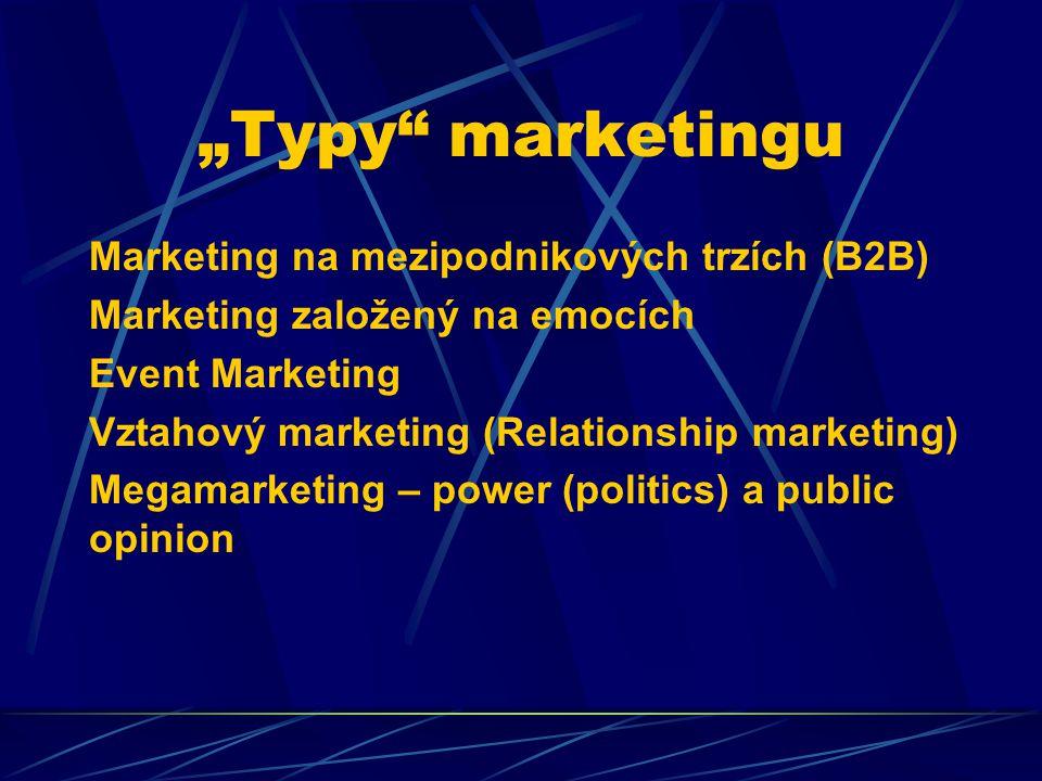"""""""Typy marketingu Marketing na mezipodnikových trzích (B2B) Marketing založený na emocích Event Marketing Vztahový marketing (Relationship marketing) Megamarketing – power (politics) a public opinion"""
