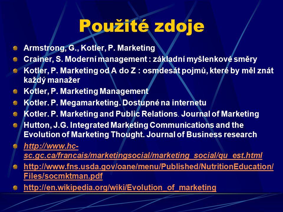 Použité zdoje Armstrong, G., Kotler, P. Marketing Crainer, S.