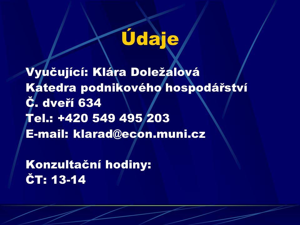 Údaje Vyučující: Klára Doležalová Katedra podnikového hospodářství Č.