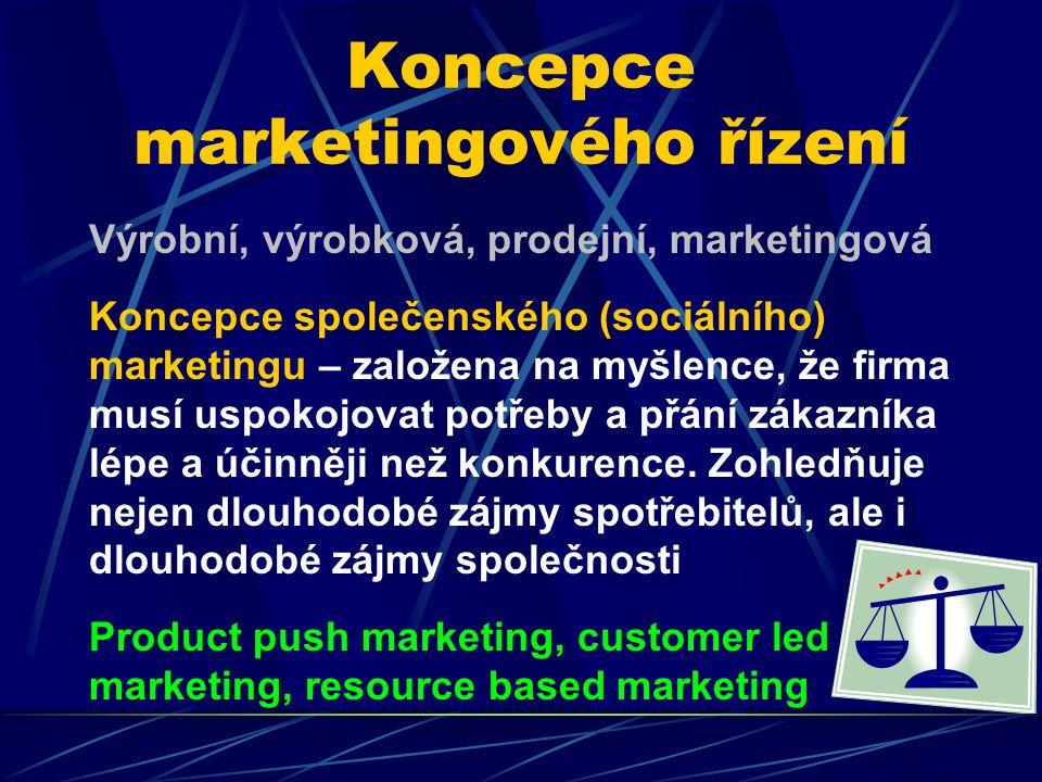 Koncepce marketingového řízení Výrobní, výrobková, prodejní, marketingová Koncepce společenského (sociálního) marketingu – založena na myšlence, že firma musí uspokojovat potřeby a přání zákazníka lépe a účinněji než konkurence.