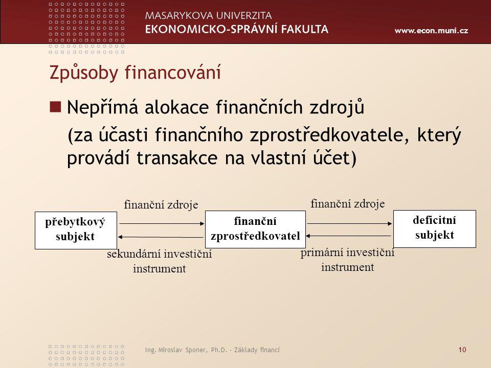 www.econ.muni.cz Ing. Miroslav Sponer, Ph.D. - Základy financí10 Způsoby financování Nepřímá alokace finančních zdrojů (za účasti finančního zprostřed