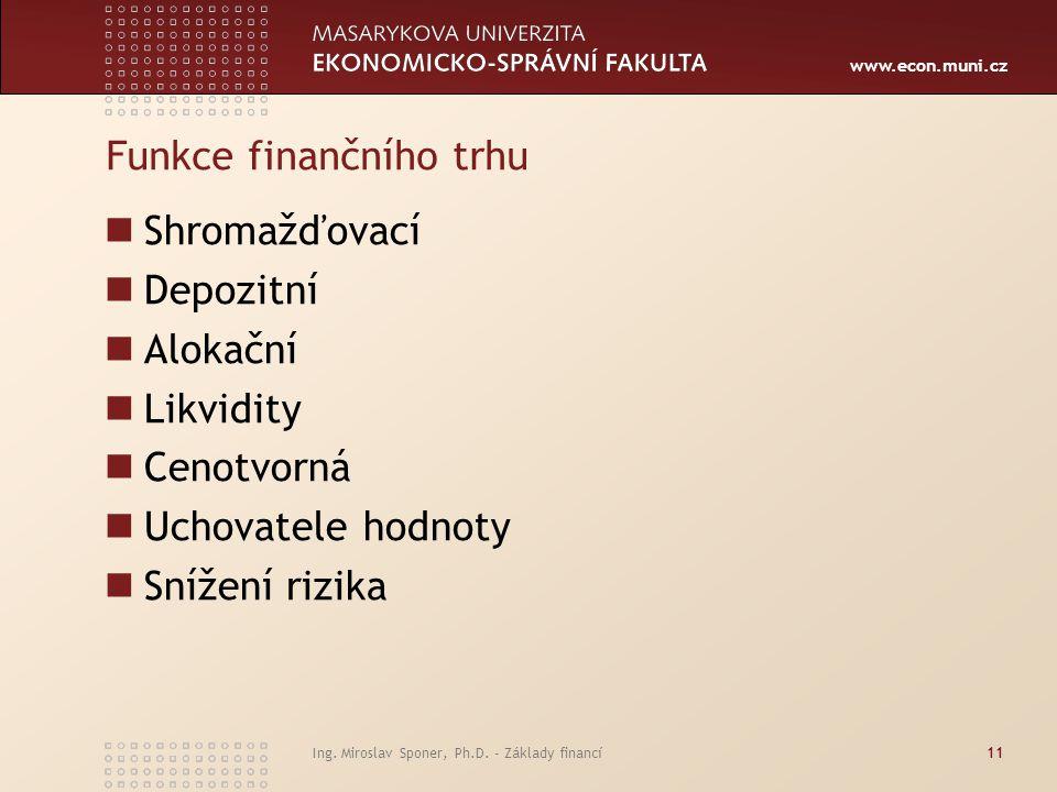 www.econ.muni.cz Ing. Miroslav Sponer, Ph.D. - Základy financí11 Funkce finančního trhu Shromažďovací Depozitní Alokační Likvidity Cenotvorná Uchovate