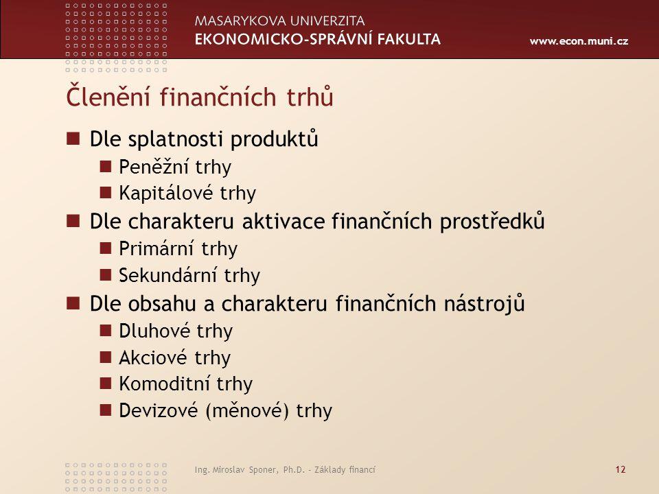 www.econ.muni.cz Ing. Miroslav Sponer, Ph.D. - Základy financí12 Členění finančních trhů Dle splatnosti produktů Peněžní trhy Kapitálové trhy Dle char