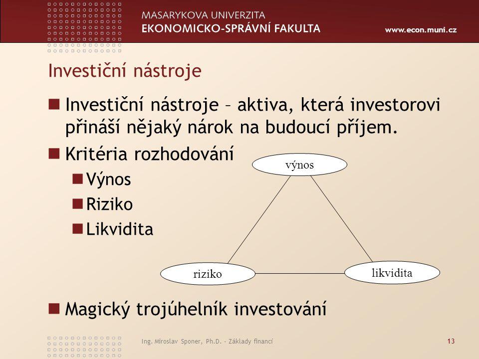 www.econ.muni.cz Ing. Miroslav Sponer, Ph.D. - Základy financí13 Investiční nástroje Investiční nástroje – aktiva, která investorovi přináší nějaký ná