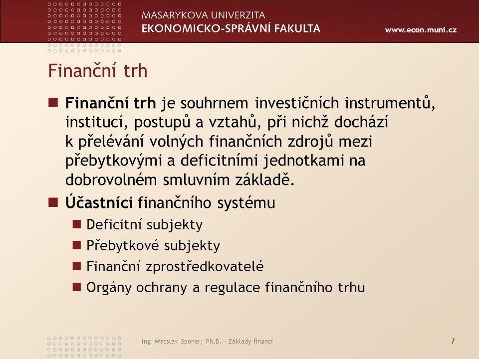 www.econ.muni.cz Ing. Miroslav Sponer, Ph.D. - Základy financí7 Finanční trh Finanční trh je souhrnem investičních instrumentů, institucí, postupů a v