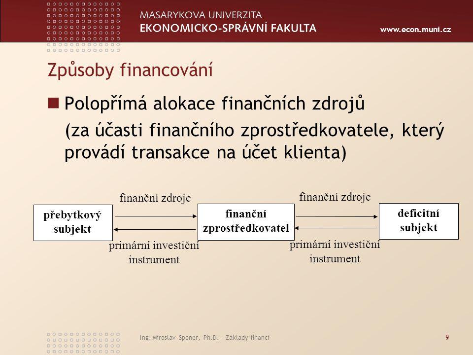 www.econ.muni.cz Ing. Miroslav Sponer, Ph.D. - Základy financí9 Způsoby financování Polopřímá alokace finančních zdrojů (za účasti finančního zprostře