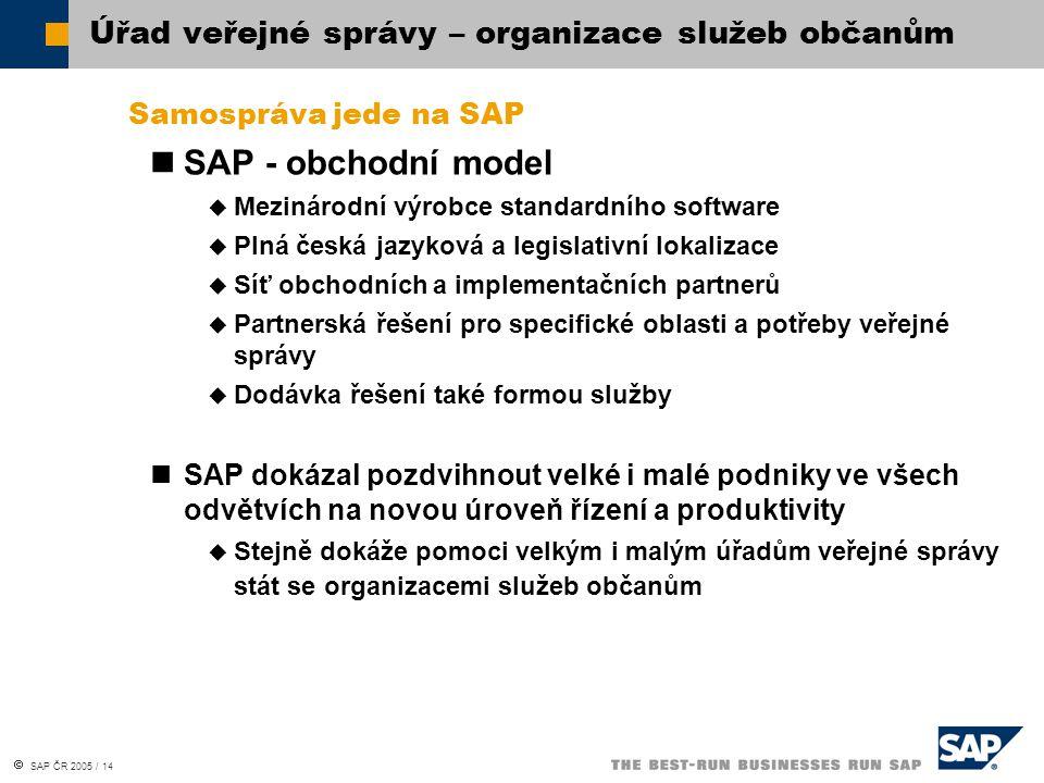  SAP ČR 2005 / 14 Samospráva jede na SAP SAP - obchodní model  Mezinárodní výrobce standardního software  Plná česká jazyková a legislativní lokali