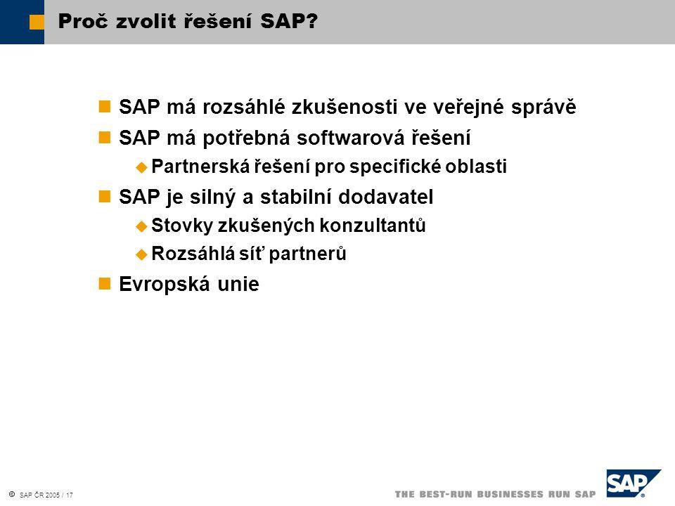 SAP ČR 2005 / 17 SAP má rozsáhlé zkušenosti ve veřejné správě SAP má potřebná softwarová řešení  Partnerská řešení pro specifické oblasti SAP je silný a stabilní dodavatel  Stovky zkušených konzultantů  Rozsáhlá síť partnerů Evropská unie Proč zvolit řešení SAP?