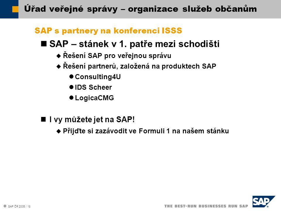  SAP ČR 2005 / 18 SAP s partnery na konferenci ISSS SAP – stánek v 1. patře mezi schodišti  Řešení SAP pro veřejnou správu  Řešení partnerů, založe