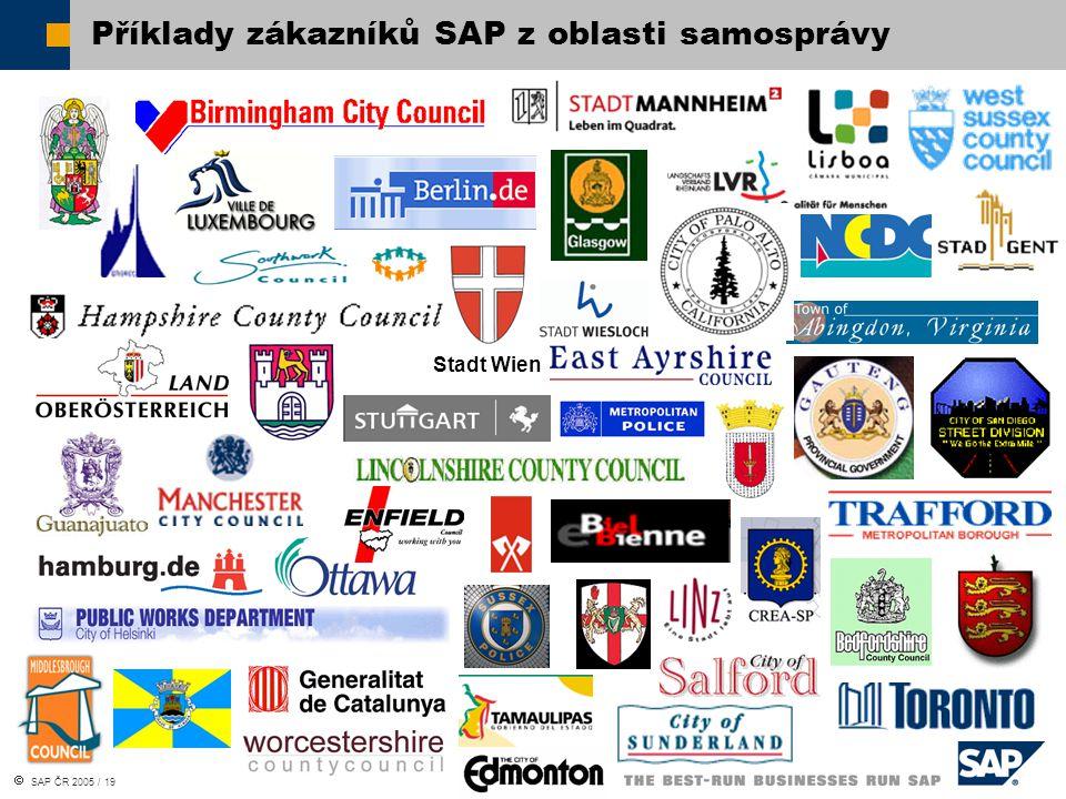 SAP ČR 2005 / 19 Stadt Wien Příklady zákazníků SAP z oblasti samosprávy