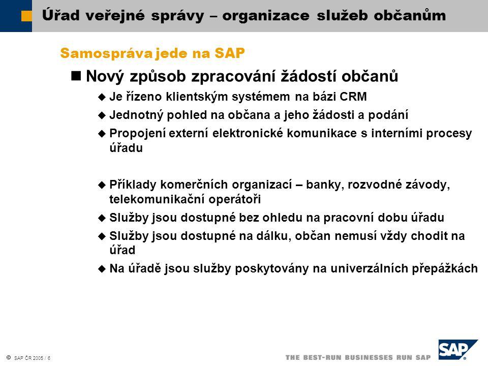  SAP ČR 2005 / 6 Samospráva jede na SAP Nový způsob zpracování žádostí občanů  Je řízeno klientským systémem na bázi CRM  Jednotný pohled na občana