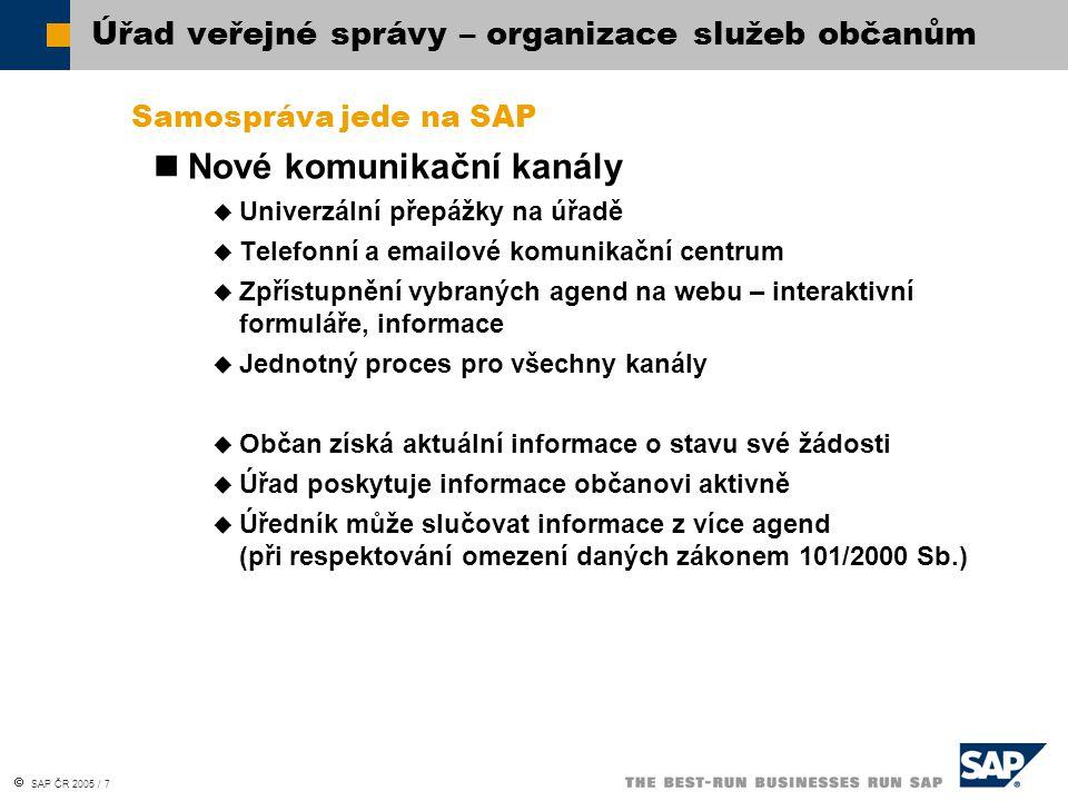  SAP ČR 2005 / 7 Samospráva jede na SAP Nové komunikační kanály  Univerzální přepážky na úřadě  Telefonní a emailové komunikační centrum  Zpřístup