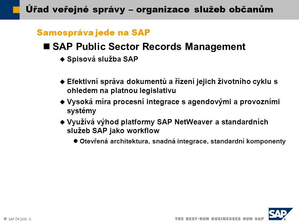  SAP ČR 2005 / 9 Samospráva jede na SAP SAP Public Sector Records Management  Spisová služba SAP  Efektivní správa dokumentů a řízení jejich životn