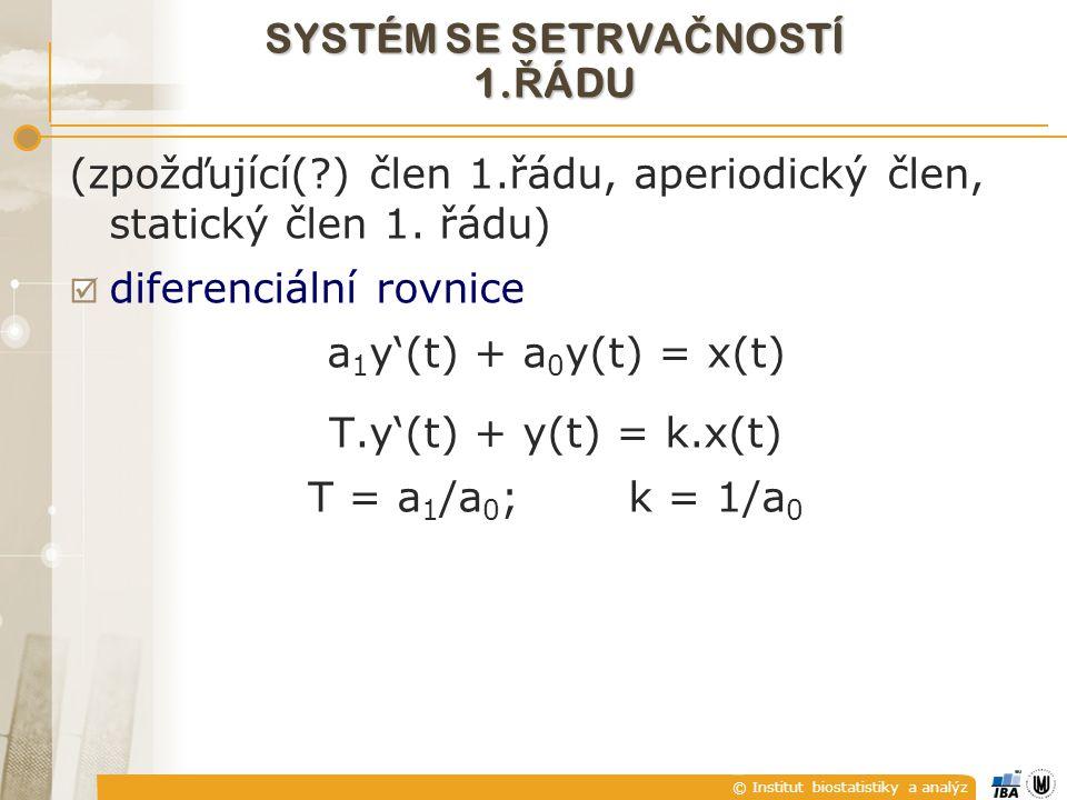 © Institut biostatistiky a analýz SYSTÉM SE SETRVA Č NOSTÍ 1. Ř ÁDU (zpožďující(?) člen 1.řádu, aperiodický člen, statický člen 1. řádu)  diferenciál