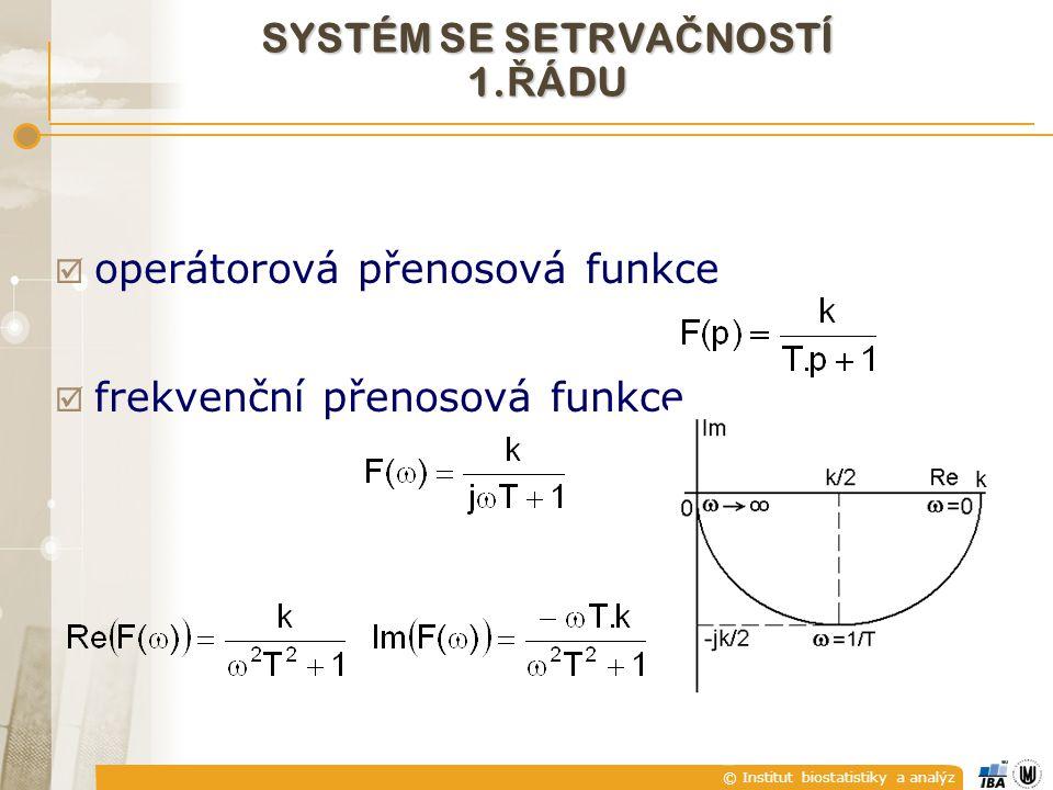 © Institut biostatistiky a analýz  operátorová přenosová funkce  frekvenční přenosová funkce SYSTÉM SE SETRVA Č NOSTÍ 1. Ř ÁDU