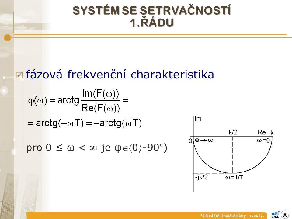 © Institut biostatistiky a analýz  fázová frekvenční charakteristika pro 0 ≤ ω <  je φ0;-90°) SYSTÉM SE SETRVA Č NOSTÍ 1. Ř ÁDU