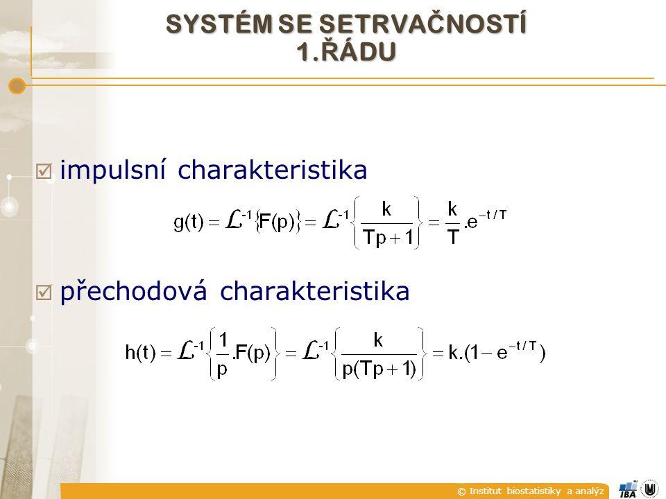 © Institut biostatistiky a analýz  impulsní charakteristika  přechodová charakteristika SYSTÉM SE SETRVA Č NOSTÍ 1. Ř ÁDU