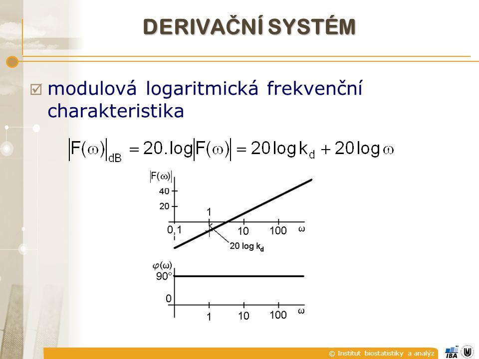© Institut biostatistiky a analýz  modulová logaritmická frekvenční charakteristika DERIVA Č NÍ SYSTÉM
