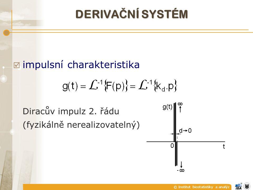 © Institut biostatistiky a analýz  impulsní charakteristika Diracův impulz 2. řádu (fyzikálně nerealizovatelný) DERIVA Č NÍ SYSTÉM
