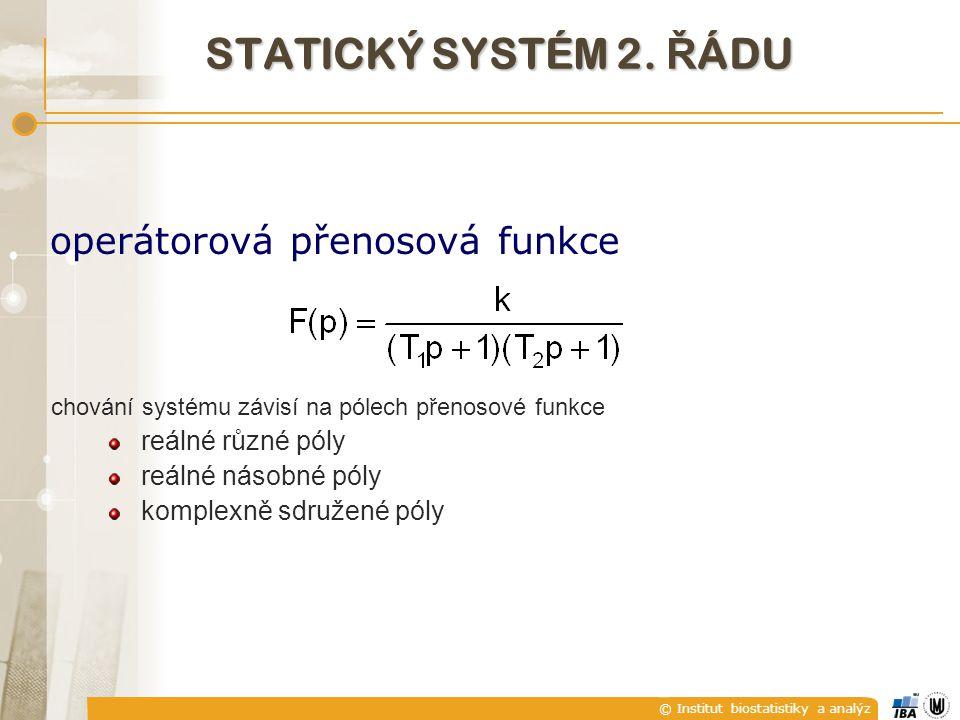 © Institut biostatistiky a analýz operátorová přenosová funkce chování systému závisí na pólech přenosové funkce reálné různé póly reálné násobné póly