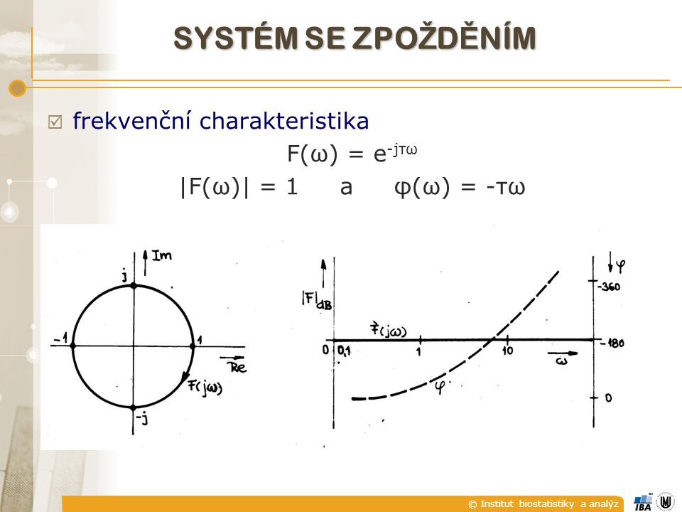 © Institut biostatistiky a analýz  frekvenční charakteristika F(ω) = e -jτω |F(ω)| = 1 a φ(ω) = -τω SYSTÉM SE ZPO Ž D Ě NÍM