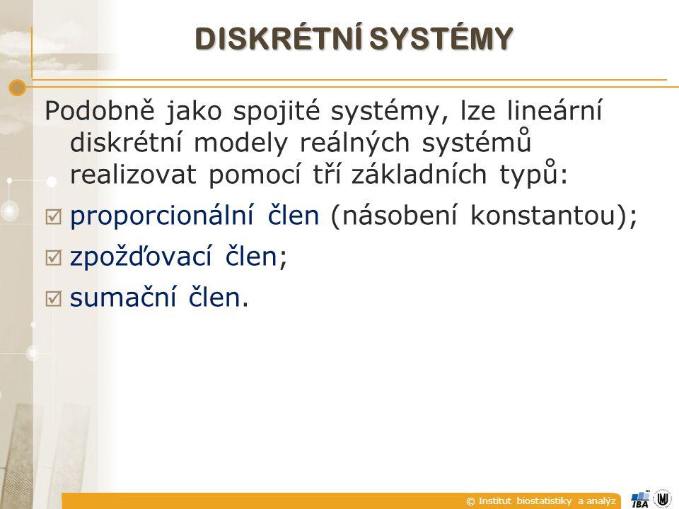 © Institut biostatistiky a analýz DISKRÉTNÍ SYSTÉMY Podobně jako spojité systémy, lze lineární diskrétní modely reálných systémů realizovat pomocí tří