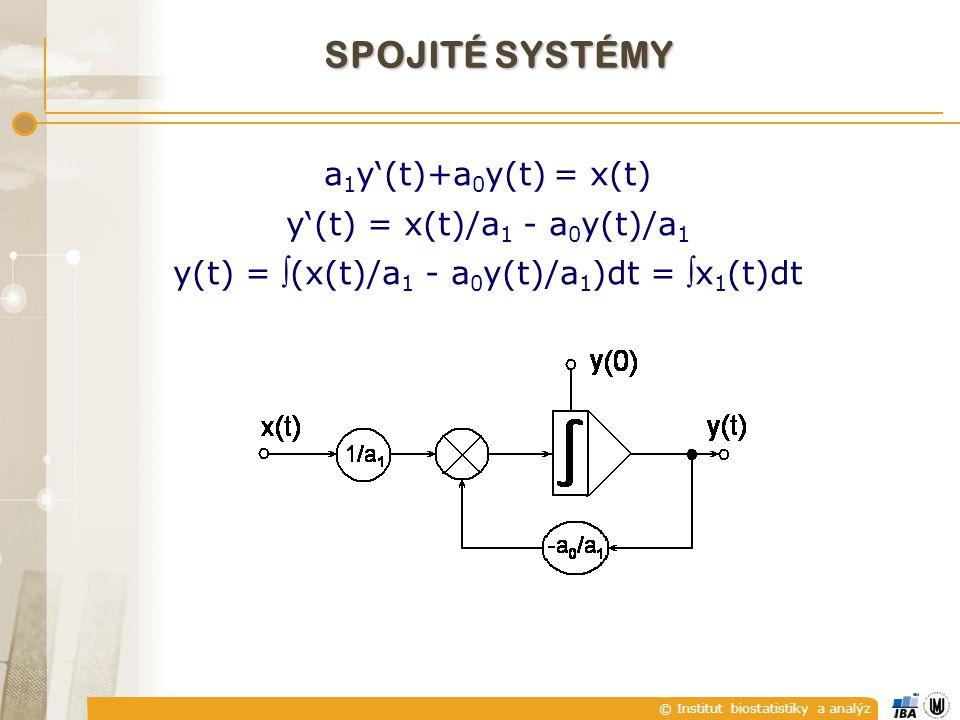 © Institut biostatistiky a analýz a 1 y'(t)+a 0 y(t) = x(t) y'(t) = x(t)/a 1 - a 0 y(t)/a 1 y(t) = (x(t)/a 1 - a 0 y(t)/a 1 )dt = x 1 (t)dt SPOJITÉ