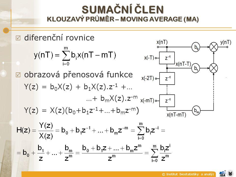 © Institut biostatistiky a analýz  diferenční rovnice  obrazová přenosová funkce Y(z) = b 0 X(z) + b 1 X(z).z -1 +… …+ b m X(z).z -m Y(z) = X(z)(b 0