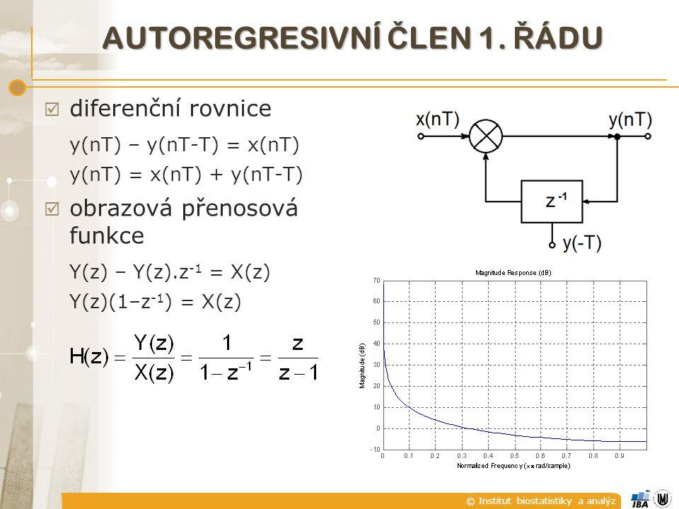 © Institut biostatistiky a analýz AUTOREGRESIVNÍ Č LEN 1. Ř ÁDU  diferenční rovnice y(nT) – y(nT-T) = x(nT) y(nT) = x(nT) + y(nT-T)  obrazová přenos