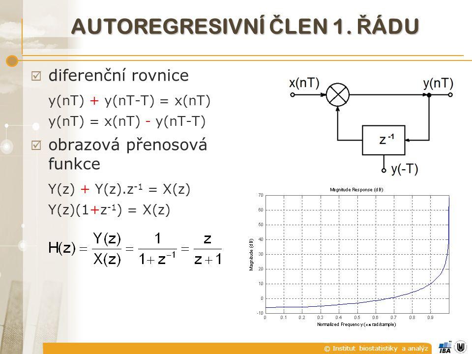 © Institut biostatistiky a analýz AUTOREGRESIVNÍ Č LEN 1. Ř ÁDU  diferenční rovnice y(nT) + y(nT-T) = x(nT) y(nT) = x(nT) - y(nT-T)  obrazová přenos