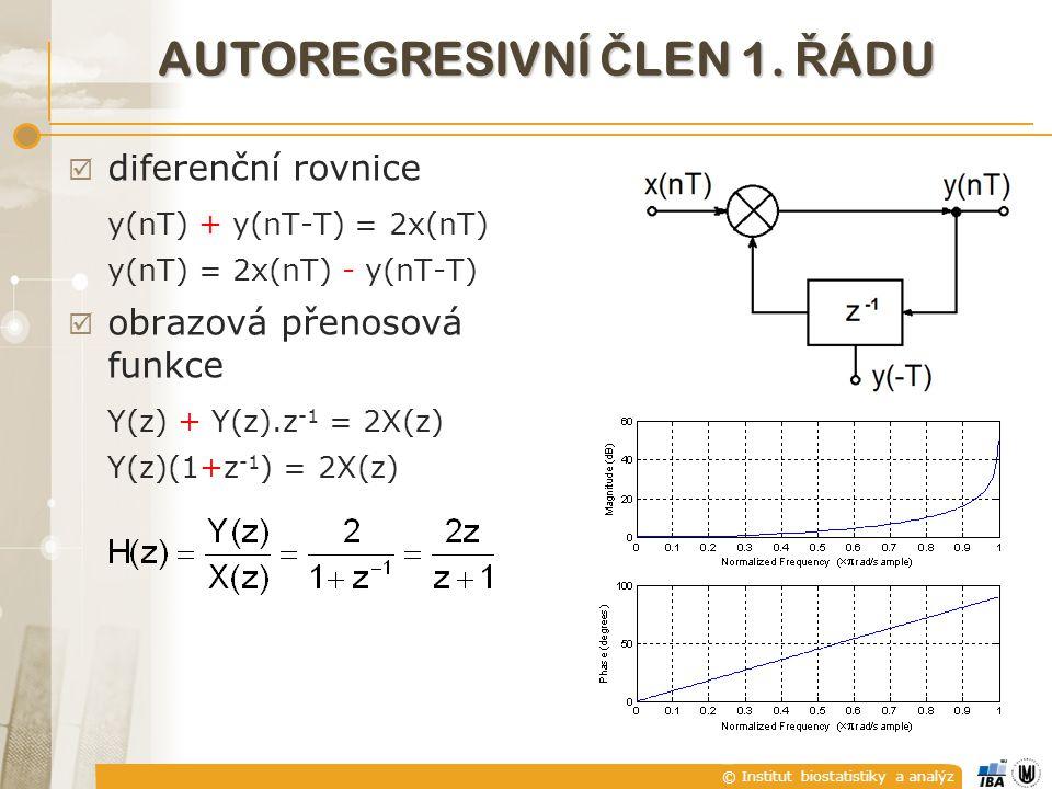© Institut biostatistiky a analýz AUTOREGRESIVNÍ Č LEN 1. Ř ÁDU  diferenční rovnice y(nT) + y(nT-T) = 2x(nT) y(nT) = 2x(nT) - y(nT-T)  obrazová přen