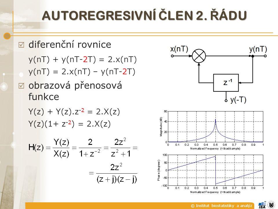 © Institut biostatistiky a analýz AUTOREGRESIVNÍ Č LEN 2. Ř ÁDU  diferenční rovnice y(nT) + y(nT-2T) = 2.x(nT) y(nT) = 2.x(nT) – y(nT-2T)  obrazová