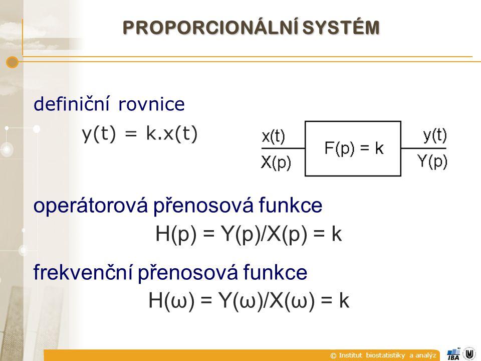 © Institut biostatistiky a analýz PROPORCIONÁLNÍ SYSTÉM operátorová přenosová funkce H(p) = Y(p)/X(p) = k frekvenční přenosová funkce H(ω) = Y(ω)/X(ω)