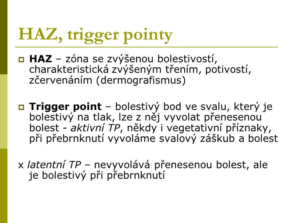 HAZ, trigger pointy  HAZ – zóna se zvýšenou bolestivostí, charakteristická zvýšeným třením, potivostí, zčervenáním (dermografismus)  Trigger point –
