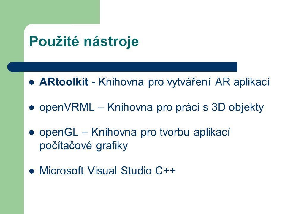 Použité nástroje ARtoolkit - Knihovna pro vytváření AR aplikací openVRML – Knihovna pro práci s 3D objekty openGL – Knihovna pro tvorbu aplikací počítačové grafiky Microsoft Visual Studio C++