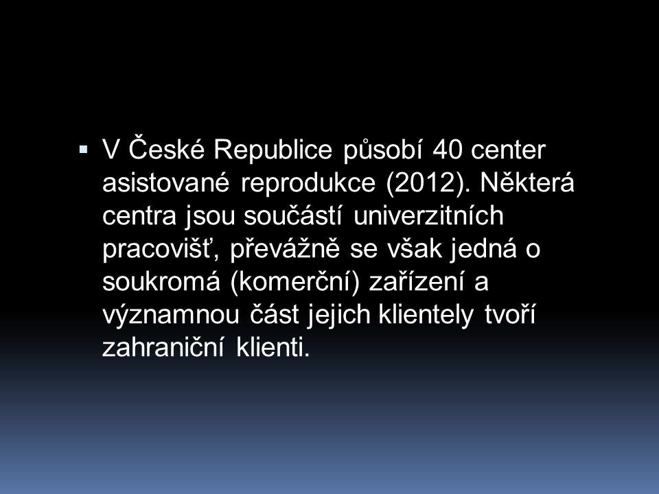  V České Republice působí 40 center asistované reprodukce (2012). Některá centra jsou součástí univerzitních pracovišť, převážně se však jedná o souk