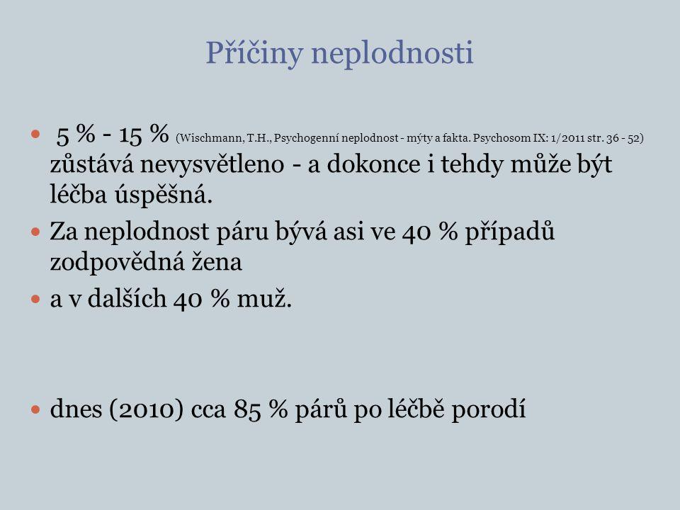 Příčiny neplodnosti 5 % - 15 % (Wischmann, T.H., Psychogenní neplodnost - mýty a fakta. Psychosom IX: 1/2011 str. 36 - 52) zůstává nevysvětleno - a do