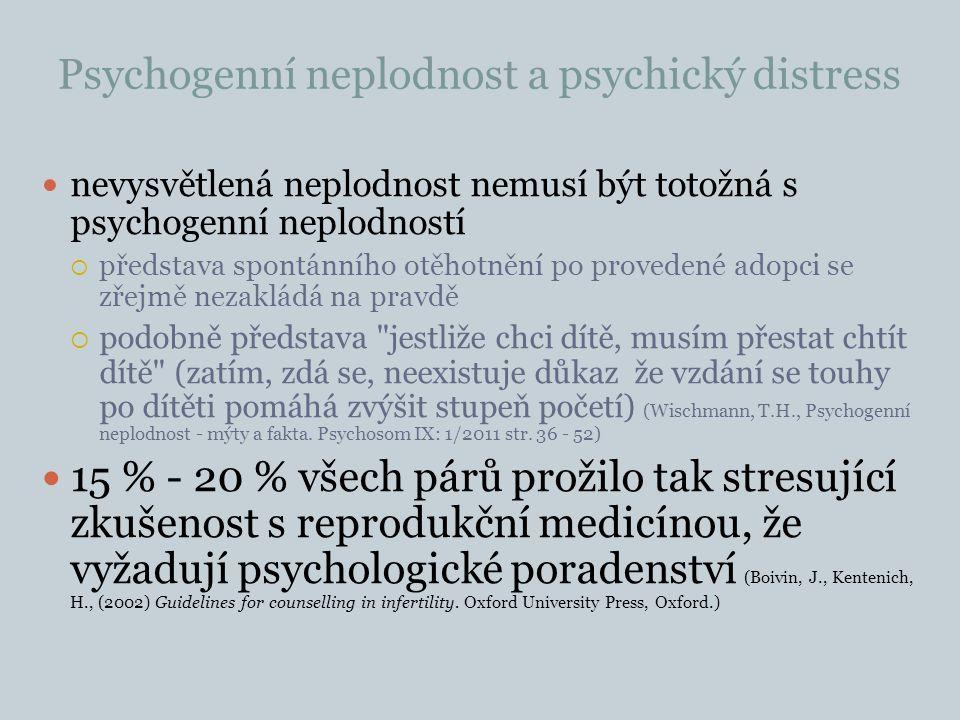 Psychogenní neplodnost a psychický distress nevysvětlená neplodnost nemusí být totožná s psychogenní neplodností  představa spontánního otěhotnění po