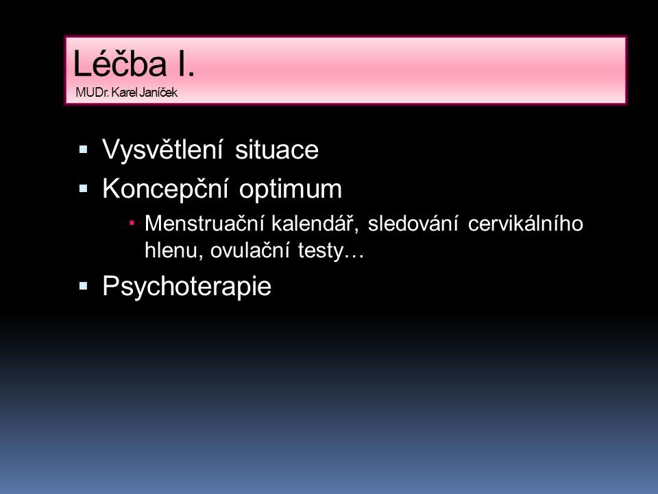 Léčba I. MUDr. Karel Janíček  Vysvětlení situace  Koncepční optimum  Menstruační kalendář, sledování cervikálního hlenu, ovulační testy…  Psychote