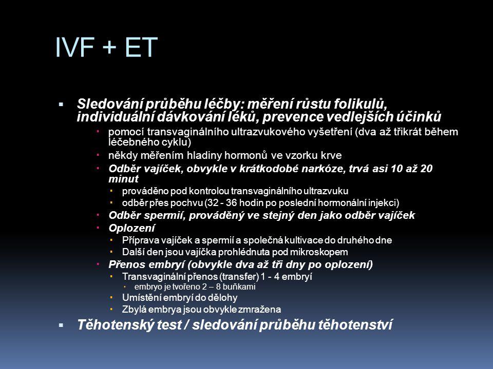 IVF + ET  Sledování průběhu léčby: měření růstu folikulů, individuální dávkování léků, prevence vedlejších účinků  pomocí transvaginálního ultrazvukového vyšetření (dva až třikrát během léčebného cyklu)  někdy měřením hladiny hormonů ve vzorku krve  Odběr vajíček, obvykle v krátkodobé narkóze, trvá asi 10 až 20 minut  prováděno pod kontrolou transvaginálního ultrazvuku  odběr přes pochvu (32 - 36 hodin po poslední hormonální injekci)  Odběr spermií, prováděný ve stejný den jako odběr vajíček  Oplození  Příprava vajíček a spermií a společná kultivace do druhého dne  Další den jsou vajíčka prohlédnuta pod mikroskopem  Přenos embryí (obvykle dva až tři dny po oplození)  Transvaginální přenos (transfer) 1 - 4 embryí  embryo je tvořeno 2 – 8 buňkami  Umístění embryí do dělohy  Zbylá embrya jsou obvykle zmražena  Těhotenský test / sledování průběhu těhotenství