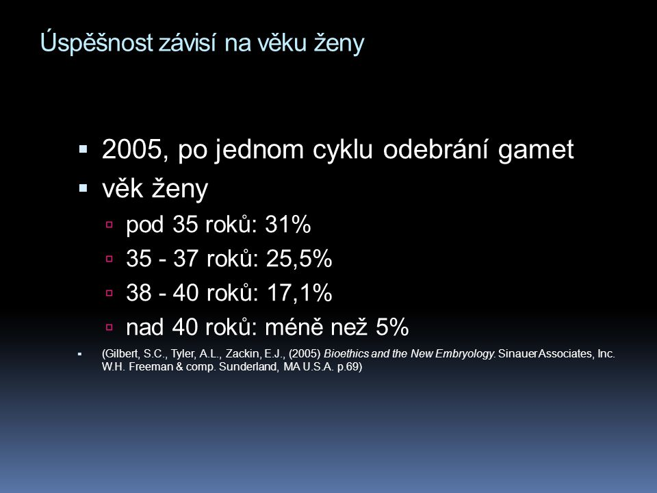 Úspěšnost závisí na věku ženy  2005, po jednom cyklu odebrání gamet  věk ženy  pod 35 roků: 31%  35 - 37 roků: 25,5%  38 - 40 roků: 17,1%  nad 40 roků: méně než 5%  (Gilbert, S.C., Tyler, A.L., Zackin, E.J., (2005) Bioethics and the New Embryology.