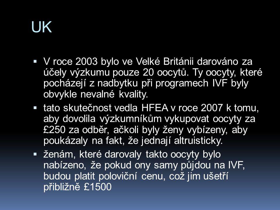 UK  V roce 2003 bylo ve Velké Británii darováno za účely výzkumu pouze 20 oocytů. Ty oocyty, které pocházejí z nadbytku při programech IVF byly obvyk