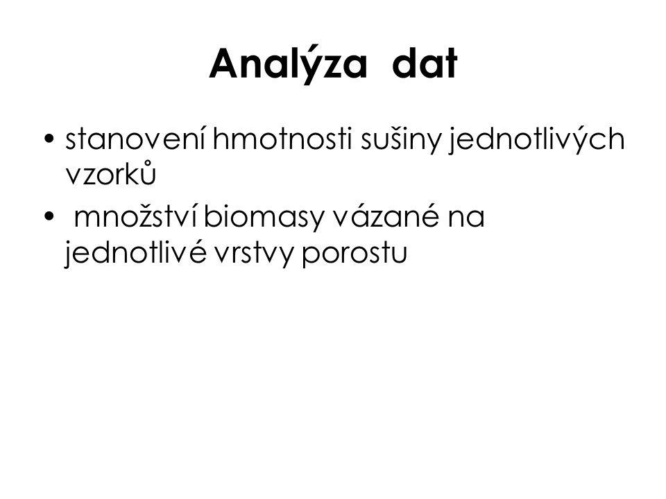 Analýza dat stanovení hmotnosti sušiny jednotlivých vzorků množství biomasy vázané na jednotlivé vrstvy porostu