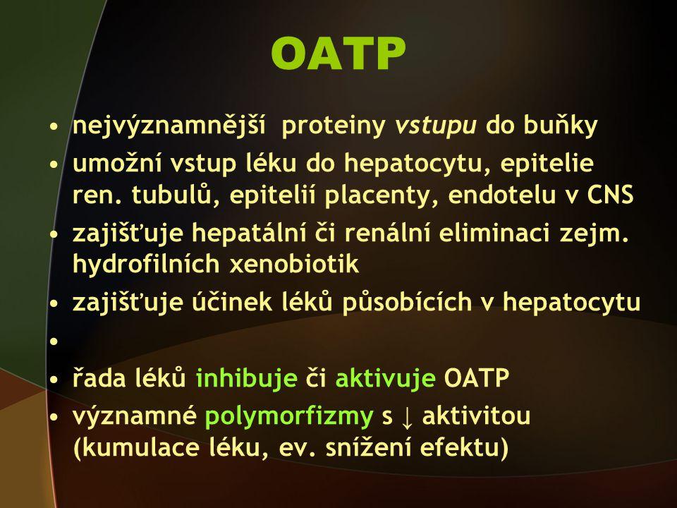 OATP nejvýznamnější proteiny vstupu do buňky umožní vstup léku do hepatocytu, epitelie ren.