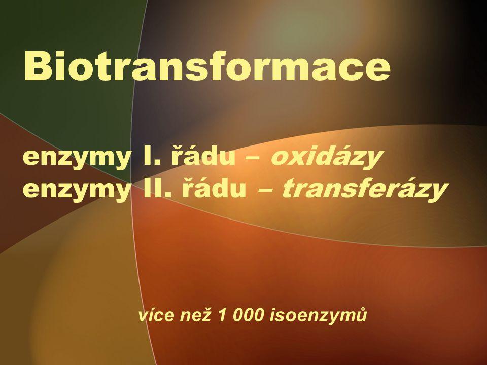 Biotransformace enzymy I. řádu – oxidázy enzymy II. řádu – transferázy více než 1 000 isoenzymů